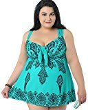 Women`s Plus Size Swimdress Printed One Piece Swimsuit Beachwear with Skirt Green 9XL