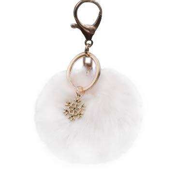 Kanggest. Cadena de Clave Pompon Pequeños Coche Llaveros Copo de Nieve Felpa Gancho Clip para Decoración del Coche/Teléfono/Bolsa Llavero de Navidad(Beige)