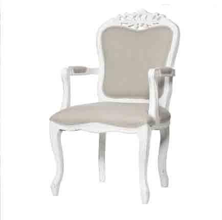 Poltrona con braccioli bianca in legno stile vintage con imbottitura in cotone L'ARTE DI NACCHI PP-03