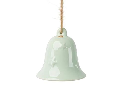 meindekoartikel 2 Deko-Glocken aus Keramik zum hängen hell grün – Ø 6,5cm x Höhe 6,5cm