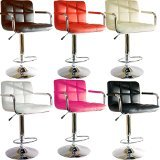 Brand New Breakfast Bar Stool Faux Leather Barstool Kitchen Stools Chrome Chair (red)