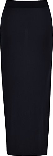Ladies Elasticated Full Length Stretchy Jersey Womens Plain Maxi Skirt (XXL (20-22), Black)