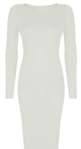 Generic - Robe - Moulante - Manches Longues - Femme Crème