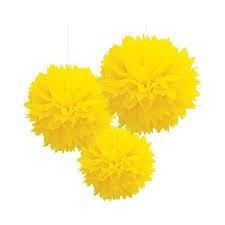 Madcaps Fluffy Decoration - Yellow (Set of 3) 8