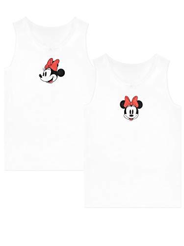 Disney Mädchen Minnie Mouse Unterhemden Packung mit 2 Weiß 104