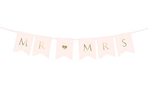 Hochzeits-Girlande Mr & Mrs in rosa & Gold - Hochzeit / Dekoration / Zubehör / Banner / Standesamtliche Trauung / Hochzeits-Deko