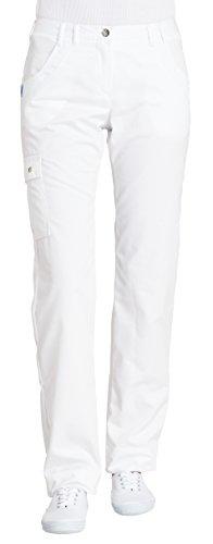 clinicfashion 10614016 Hose Damen weiß, elastischer Bund, Schenkeltaschen, Langgröße, Mischgewebe, Größe 48L