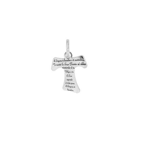 Padre Nostro - Anhänger Kreuz Tau 17x14MM in Silber 925 mit Gebet Graviert rhodiniert