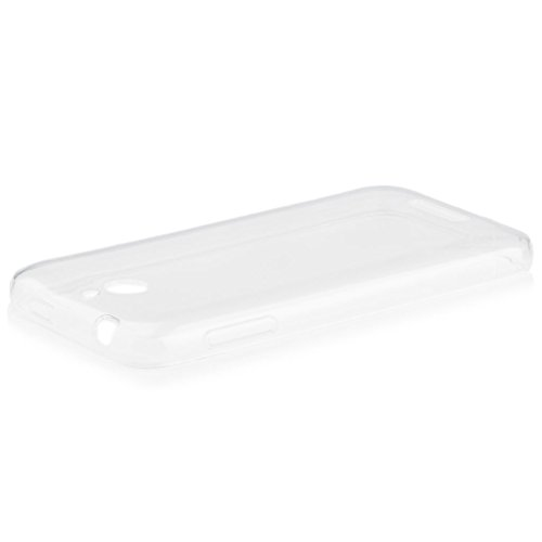 HTC Desire 510 | iCues Transparent TPU Case Klar | [Display Schutzfolie Inklusive] Transparent Klarsichthülle Durchsichtig Klare Klarsicht Silikon Gel Schutzhülle Hülle Cover Schutz
