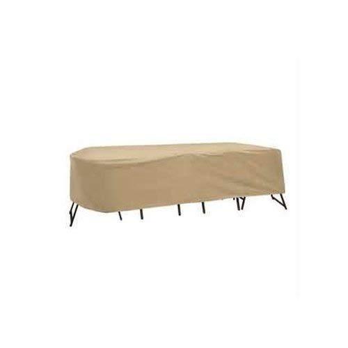 Coques de protection résistant aux intempéries Table de patio et Housse de protection pour chaise à dossier haut, 203,2 x 243,8 cm, ovale/rectangulaire Table, Tan en Coques de protection