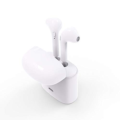 Auriculares Inalámbricos In-Ear, Estuche de Carga, Bluetooth V4.2, Manos Libres con Micrófono, Compatible con iPhone y Android, Color Blanco