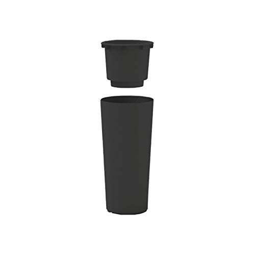 Veca - Macetero color antracita - Modelo Clou - Macetero redondo alto - Medidas 38 x 85 cm con porta-maceta extraíble