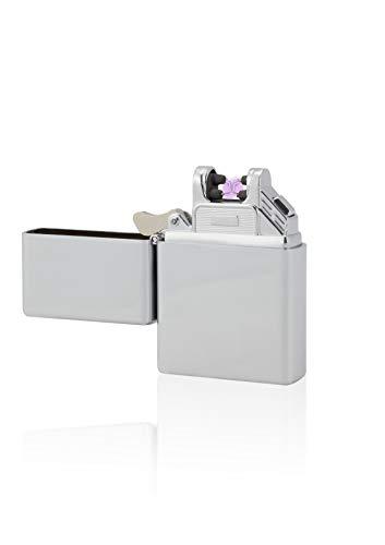 TESLA Lighter T03 Lichtbogen-Feuerzeug, elektronisches USB Feuerzeug, Double-Arc Lighter, wiederaufladbar, Silber