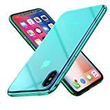 Raxfly Gradual coloré Ultra Mince Galvanoplastie Miroir Lumineux léger Transparent Clear Coque arrière Rigide pour iPhone X, Glaxy S9 Vert Menthe