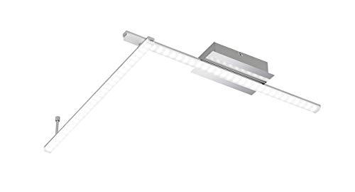 WOFI Deckenleuchte, 2-flammig Clay 2 x LED / 10 W, 11 x 9 x 125, 5 cm, 3000 k, 820 lm, Energieeffizenzklasse A, chrom 9163.02.01.0000