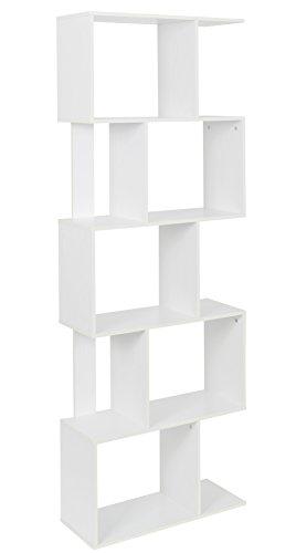 ts-ideen Design Regal Hochregal 10 Fächer Standregal Bücherregal CD-Regal Aufbewahrung Holz weiß 160,5 x 60 cm