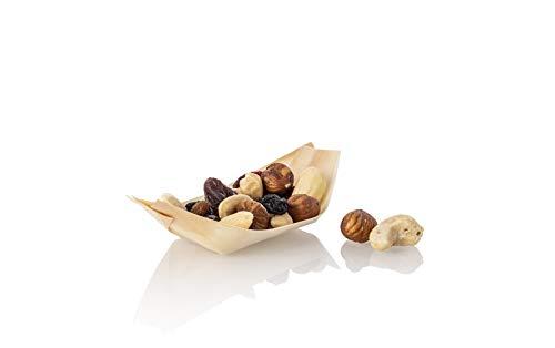 Mary's KITCHEN TOOLS 100 x Holz-Schälchen | 10,5 x 5cm | Bio Snackschalen für Fingerfood | Holzschiffchen | Holzboote | Holzschalen | Party Geschirr | Naturprodukt | (S (10,5 x 5cm))