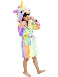 eBoutik Estrella de Chicas Arco Iris Sirena Unicornio Albornoz Bata 3D Cuerno Mágico Púrpura Rosa Amarillo Pijamas Pijamas (Edad 6-8, Unicornio Arcoiris)