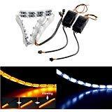 FEZZ Tubo Flessibile Faro LED Fluente Striscia DRL Bianco Ambra Luce di stazionamento Indicatori di Direzione