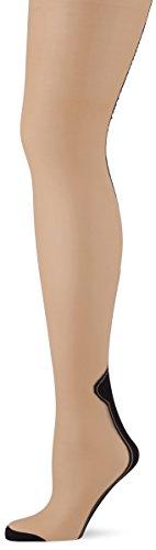 Avenue Sheer Strümpfe (LEG AVENUE 6905 - Transparente Halterlose Strümpfe mit kontrastierenden Rücknaht und Cuban Heel, Einheitsgröße, Nude/schwarz)