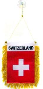 AZ FLAG Wimpel Schweiz 15x10cm - HELVETISCHE Mini Flagge 10 x 15 cm - Auto Pennant spezielle Auto