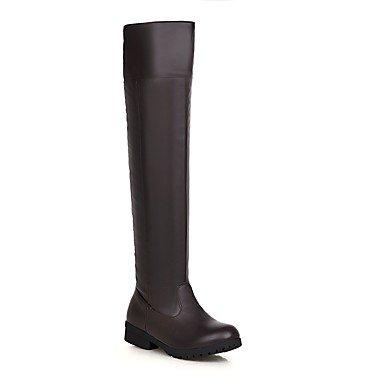 Rtry Chaussures Pour Femmes En Simili-cuir D'hiver Bottes De Combat Bottines Bottes Bout Rond Sur Les Genoux Bottes De Bureau Casual & Carrière Black Brown Us5.5 / Eu36 / Uk3.5 / Cn35