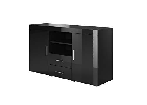 muebles bonitos Buffet Moderne modèle Roque mélaminé Noir Brillant Largeur 140cm Hauteur 80cm Profondeur 40cm