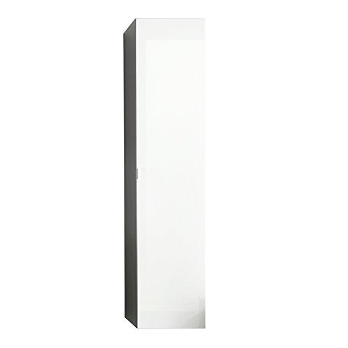 Trendteam Badezimmer Hochschrank, Holzwerkstoff, Korpus Grau Melamin, Front weiß Hochglanz, 35 x 157 x 31 cm