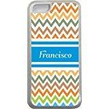 Francisco Chevron Bleu Nom Design Iphone 5C Coque (Transparent) avec protection pare-chocs en caoutchouc pour Apple iPhone 5C Étui vendre sur zeng