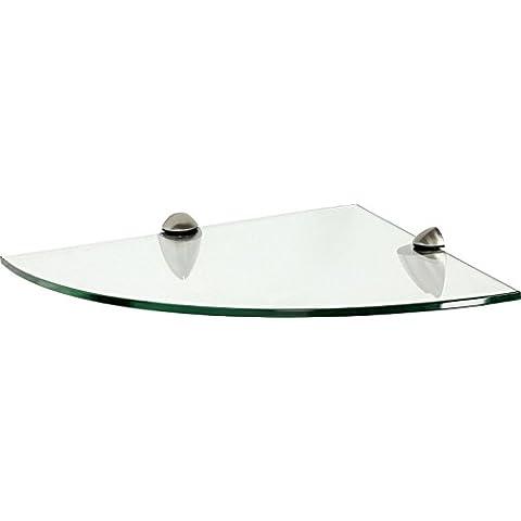 IB-Style - Mensola in vetro | 12 variazioni | Angolo Mensola - 350 x 350 x 10 mm satinato + Clips Round acciaio inossidabile