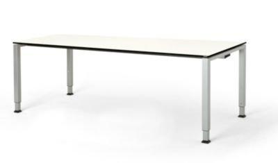 mauser Rechtecktisch, Fußform Quadratrohr - HxBxT 650 – 850 x 2000 x 900 mm, Vollkernplatte, Gestell alufarben - Tischsysteme Bürotische...