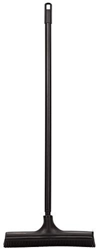 V7 Universal-Kehrbesen, V-Besen mit V-förmigen Borsten, Teleskop-Stiel und Gummilippe zum mühelosen Entfernen, schwarz