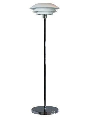 Dyberg Larsen DL 31 chrom weiß Moderne Design LED Stehleuchte für Wohnzimmer Schlafzimmer Flur Loft mit Fußschalter Durchmesser des Lampenschirms 31cm Höhe: 133cm