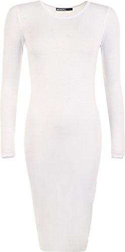 WearAll - Damen Bodycon Elastisch Schmucklos Dress Lange Ärmel Rundhalsausschnitt Midi Kleid - Weiß - 36 / 38 (Weißes Kleid Anzüge)