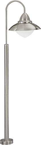 EGLO Außen Stehleuchte Modell Sidney aus Edelstahl und weißem satiniertem Glas, HV 1 x E27 maximal 60 W, Schutzgrad IP 44 120 x 34 cm, Durchmesser 12 cm