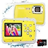 tesha Kamera für Kinder,12MP HD wasserdichte Digitalkamera,Mini Action Camcorder Kinderkamera,2.0 Zoll LCD Bildschirm Anzeige/8X Digitaler Zoom/5MP CMOS-Sensor mit 16GB Speicherkarte (Gelb)