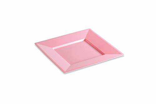 12 Assiettes carrées 24 cm Rose Pastel