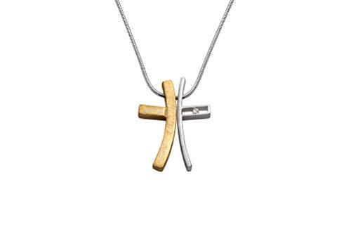 Perlkönig Kette Halskette | Damen Frauen | Silber Gold Farben | Kreuz Anhänger | Bicolor | Nickelfrei