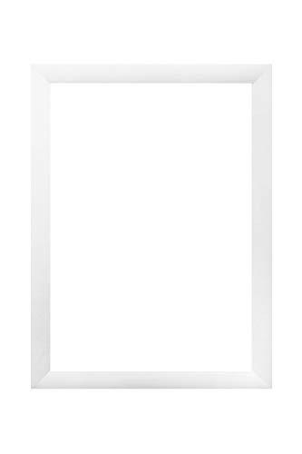 EUROLine 35mm MDF Bilderrahmen nach Maß für 60 cm x 80 cm Bilder, Farbe: Weiß matt, Antireflex-Acrylglas