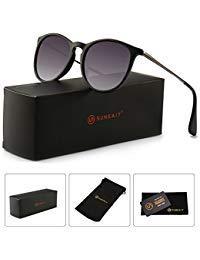 SUNGAIT Sunait Vintage Runde Sonnenbrille für Damen, klassischer Retro-Stil, (Black Frame (Glossy Finish) /Grey Gradient Lens), Freie Größe