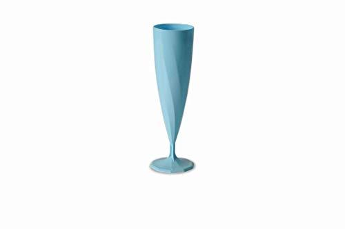 Adiserve 10 flûtes à Champagne Plastique réutilisables 13 cl Bleu Ciel