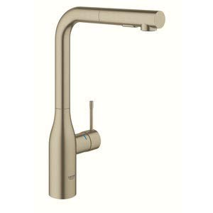 Grohe Essence New – grifo monomando fregadero L-caño ducha dual – Brushed Nickel