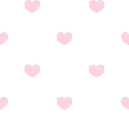 Tapete Herz pink glänzend auf Boden Weiß Märchen 303254 in Papier duplex robust -