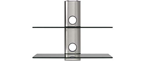 NEG Multimedia TV-Rack Suspender 502S (Silber) mit 2 Glas-Ablagen und Kabelmanagement-System