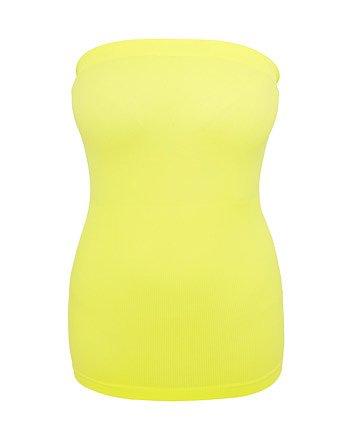 Urban classics donna top senza spalline Neon - Giallo neon, XL