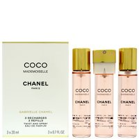 Chanel Coco Mademoiselle Eau de Parfum Twist and Spray 3 x 20ml Refills