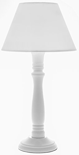 Tischlampe Lampe Tischleuchte Nachttischlampe Shabby Chic Landhaus Vintage Holz Weiß Höhe 40cm