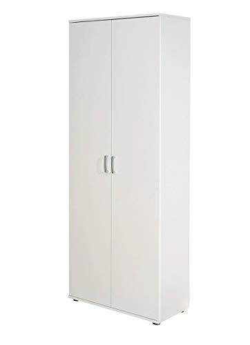 Inter Link 13500100 Schrank Aktenschrank weiß Büroschrank Büro Mehrzweckschrank 2-türig 5 Böden NEU BxHxT: 70 x 34 x 189 cm