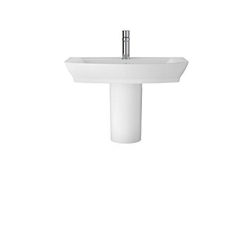 Hudson Reed CCL006 Maya 550mm Basin & Semi Pedestal Waschbecken und Sockel, Weiß, 650mm (Pedestal Semi)