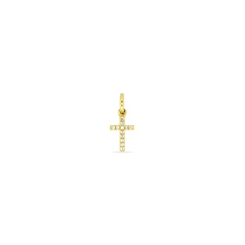 Juwelier Gelber Anhänger Diamant Kreuz 750/000 18 Kt Gelb Gold 5x10mm 12 Brillanten Weiß SI